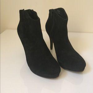 Suede high heel platform booties